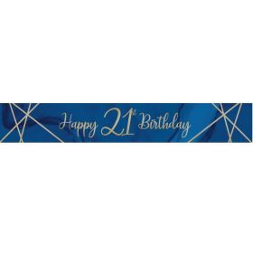 Navy & Gold Geode Party Age 21 Foil Banner 2.74m