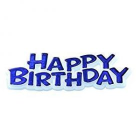 Happy Birthday Cake Topper - Blue - 7cms