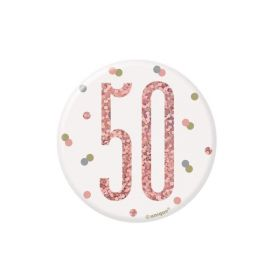Glitz Rose Gold Age 50 Badge 7.5cm