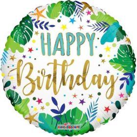 "Tropical Happy Birthday Foil Balloon 18"""