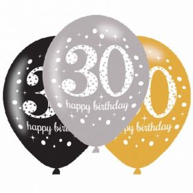 Gold Sparkling Celebration 30th Latex Balloons, pk6