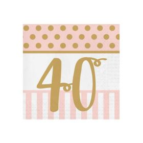 Pink Chic Happy 40th Napkins 33cm x 33cm, pk20