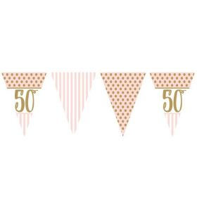 Pink Chic 50th Birthday Bunting 3.7m