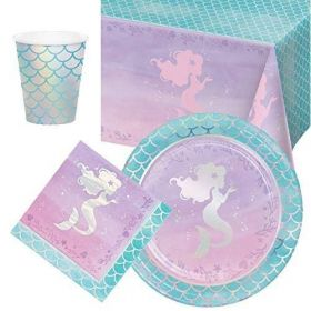 Mermaid Shine Party Tableware Pack for 8