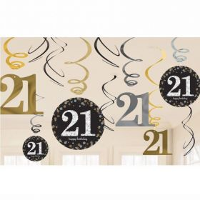 Gold Sparkling Celebration 21st Swirl Decoration Value Packs - pk12