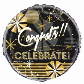 Jazzy Black & Gold Round Foil Helium Balloon ''Congratulations''