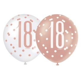 "Glitz Rose Gold Age 18 Latex Balloons 12"", pk6"