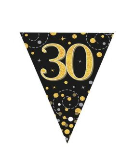 Black & Gold Dots Age 30 Flag Banner 4m