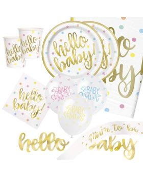 Gold Hello Baby Shower Deluxe Party Pack for 16