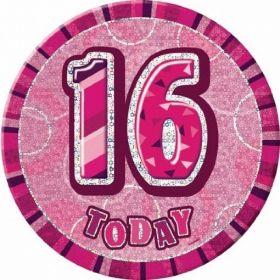 Pink Glitz Giant 16th Today Birthday Badge