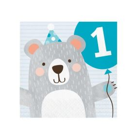 Birthday Bear 1st Birthday Napkins 33cm x 33cm, pk16