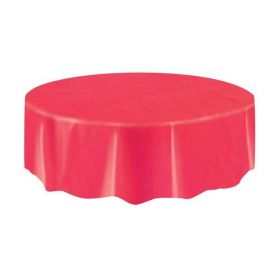 Red Round Plastic Tablecover Compact Size 2.13m