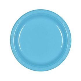 Caribbean Blue Plastic Party Plates 18cm, pk20