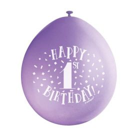 "Happy 1st Birthday Latex Balloons 9"", pk10"