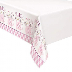 Pink Floral Elephant Baby Shower Tablecover 1.37m 2.13m