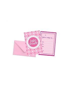 Pink Baby Shower Invitations, pk8