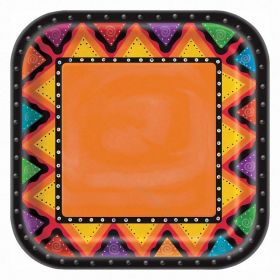 Mexican Fiesta Square 9'' Dinner Plates, pk8