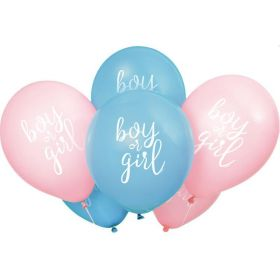"""Gender Reveal Party Latex Balloons 12"""", pk8"""