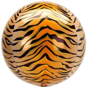 "Animalz Tiger Print Orbz Foil Balloon 16"""