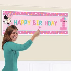 Minnie Mouse Fun To Be One Personalised Banner 1.65m x 51cm