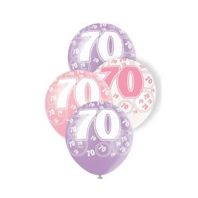 Pink Glitz 70 All Over Print Party Latex Balloons, 6pk