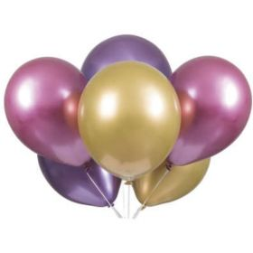 "Pink, Purple & Gold Platinum Latex Balloons 11"""