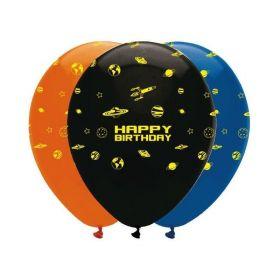 "Space Blast Latex Balloons 12"", pk6"