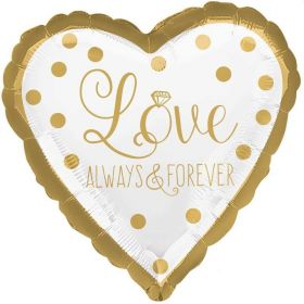 Gold Wedding Always & Forever Foil Balloon 17""