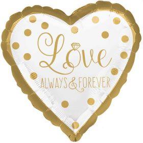 "Gold Wedding Always & Forever Foil Balloon 17"""