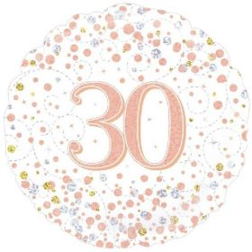 Rose Gold Sparkling Dots 30th Birthday Foil Balloon 18""