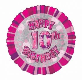 Pink Age 10 Prismatic Foil Balloon 18''