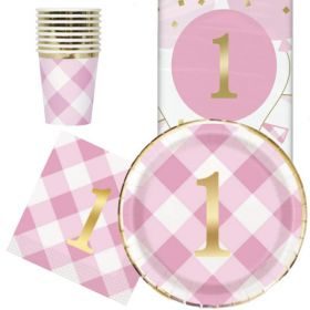 Pink Gingham 1st Birthday Party Tableware Pack for 8