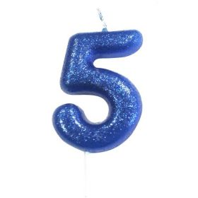 Age 5 Glitter Numeral Moulded Pick Candle Blue