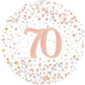 Rose Gold Sparkling Dots 70th Birthday Foil Balloon 18""