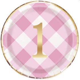 Pink Gingham 1st Birthday Party Plates