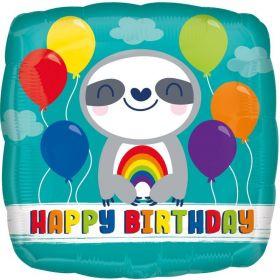 Happy Birthday Sloth Foil Balloon