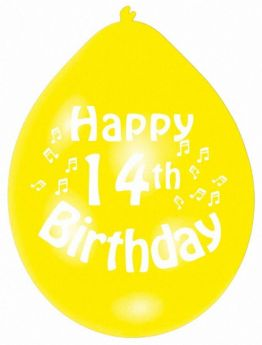 Happy 14th Birthday Mix Colours Latex Balloons, pk10