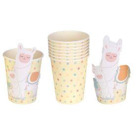 Llama Love Paper Cups 250ml, pk8