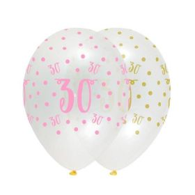 Pink Chic Happy Age 30 Latex Balloons 12'', pk6