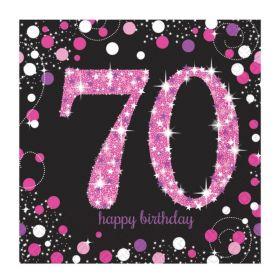 Pink Sparkling Celebration 70th Birthday Luncheon Napkins 33cm x 33cm, pk16