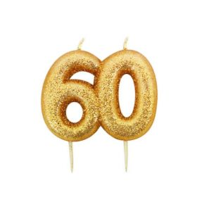 Age 60 Glitter Numeral Moulded Candle Gold