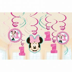 Minnie Mouse Fun to Be One Swirl Decorations, pk12