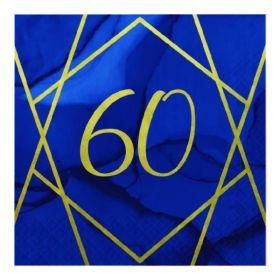 Navy & Gold Geode Party Age 60 Napkins 33cm x 33cm, pk16