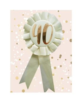 40th Birthday Rose Gold and Cream Rosette