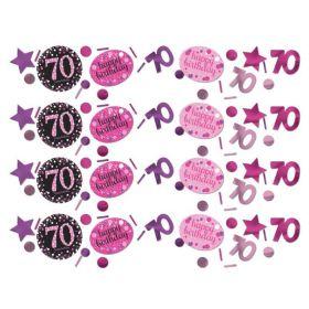 Pink Sparkling Celebration 70th Birthday Confetti 34g
