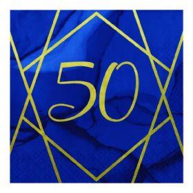 Navy & Gold Geode Party Age 50 Napkins 33cm x 33cm, pk16