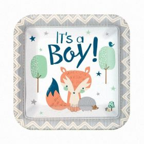 Bear-ly Wait Square Paper Plates 18cm, pk8
