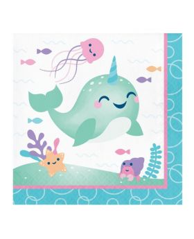 Cute Narwhal Party Napkins 33cm x 33cm, pk16