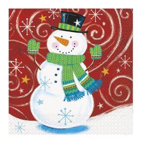 Snowman Swirl Party Napkins 33cm x 33cm, pk16