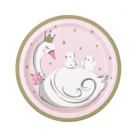 Swan Birthday Party Plates 18cm, pk8